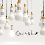 Pencil lightbulb 3d and design word CREATIVE Stock Photos