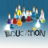 Pencil lightbulb 3d and design word EDUCATION Stock Image