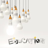 Pencil lightbulb 3d and design word EDUCATION Royalty Free Stock Photography