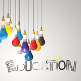 Pencil lightbulb 3d and design. Word EDUCATION as concept Stock Photo
