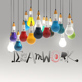 Pencil lightbulb 3d and design word TEAMWORK Royalty Free Stock Photo