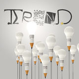 Pencil lightbulb 3d and design word TREND Royalty Free Stock Photography