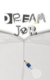 Pencil lightbulb draw rope open wrinkled paper. Show graphic dessin word DREAM JOB as concept Stock Image