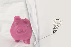 Pencil lightbulb draw rope open wrinkled paper piggy pink Royalty Free Stock Images