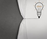 Pencil lightbulb draw rope open wrinkled paper Royalty Free Stock Photography