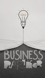Pencil lightbulb draw rope open wrinkled paper show business Stock Photography