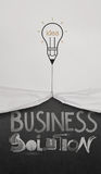 Pencil lightbulb draw rope open wrinkled paper show business Stock Photo