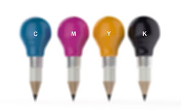 Pencil lightbulb head in cmyk color as creative  concept Royalty Free Stock Photography