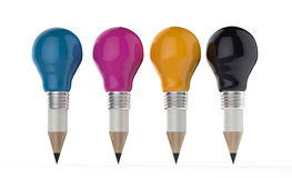 Pencil lightbulb head in cmyk color as creative  concept Stock Image