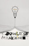 Pencil lightbulb idea draw rope open wrinkled paper show graphic Royalty Free Stock Photos