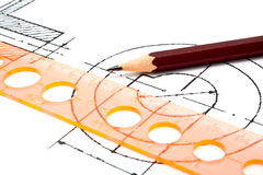 Pencil, line and draft Royalty Free Stock Photo