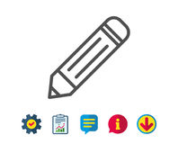 Pencil line icon. Edit sign. Drawing or Writing equipment symbol. Report, Service and Information line signs. Download, Speech bubble icons. Editable stroke vector illustration