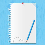 Pencil line on wooden. Pencil line and paper sheet on wooden backgrounds Royalty Free Stock Images