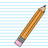 Pencil on lined paper Stock Photography