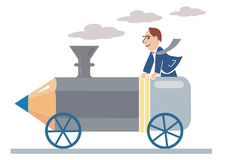 Pencil_ locomotive. Designer ridden by a pencil-locomotive, Vector illustration available for download Stock Image