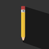 Pencil with Long shadow Royalty Free Stock Photography