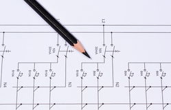 Pencil lying on electrical diagrams Stock Photography