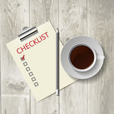 Pencil lying on the list. Morning coffee, work Stock Image