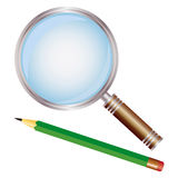 Pencil and magnifier Royalty Free Stock Photos