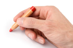 Pencil in man hand Royalty Free Stock Images