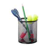 Pencil, marker and scissors in holder Royalty Free Stock Photos