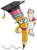 Pencil Mascot cartoon graduate certificate isolated. Pencil Mascot cartoon graduate holding certificate isolated Royalty Free Stock Photo