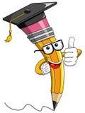 Pencil Mascot cartoon graduation hat thumb up isolated Stock Image