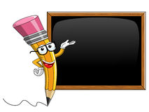 Pencil Mascot cartoon showing blank blackboard isolated Stock Images