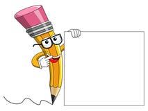 Pencil Mascot cartoon wearing reading glasses showing blank bann Royalty Free Stock Photography