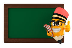 Pencil mascot. 3d render of pencil and a black board Stock Photography