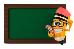 Pencil mascot. 3d render of pencil pencil and a black board Stock Photo
