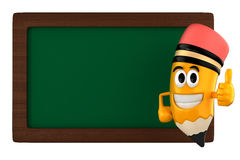 Pencil mascot. 3d render of pencil and a black board Royalty Free Stock Photo