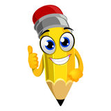 Pencil Mascot doing OK hand sign Royalty Free Stock Image
