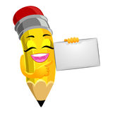 Pencil Mascot holding a blank Paper Royalty Free Stock Image