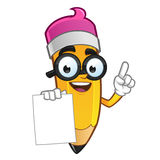 Pencil. Mascot Illustration of a Pencil he has a piece of paper to put your text stock illustration