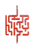 Pencil maze concept. 3D illustration of red wooden pencil forming maze Royalty Free Stock Images