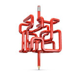 Pencil maze concept. 3D illustration of red wooden pencil forming maze Stock Photography