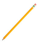 Pencil me in. Single pencil on a white background stock photo