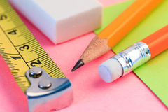 Pencil, measuring tape and paper note. Simple pencil, measuring and paper note. Stock Photo