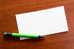 Pencil on the memo closeup Royalty Free Stock Image