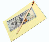 Pencil and money Royalty Free Stock Photos