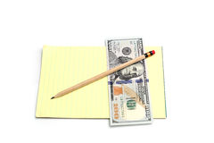 Pencil and money Royalty Free Stock Image