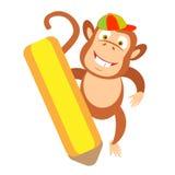 Pencil monkey Royalty Free Stock Photo