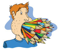 Pencil mouth. A persons mouth is full of different coloured pencils, relates to working hard or fed up of studying Royalty Free Stock Photos
