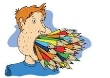 Pencil mouth Royalty Free Stock Photos