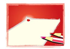 Pencil and note. Cartoon pencil  on white background Royalty Free Stock Photography