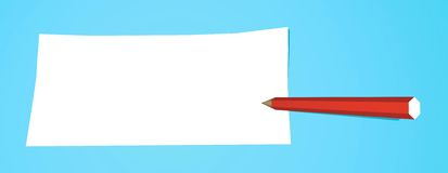 Pencil with note. Red pencil that writes on a white note Stock Image