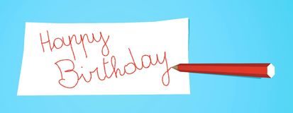 Pencil with note Happy Birthday. Red pencil that writes Happy Birthday on a white note Royalty Free Stock Photography