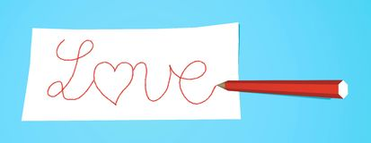 Pencil with note Love. Red pencil that writes Love on a white note Stock Image
