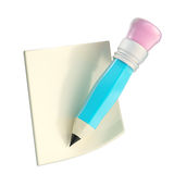 Pencil with note paper copyspace sticker Royalty Free Stock Image